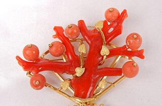 赤珊瑚 ブローチ