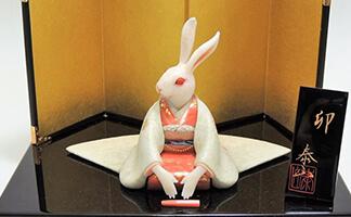 前川泰山 「卯」珊瑚 彫刻置物