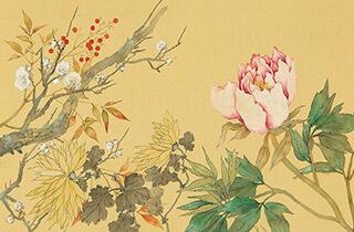 松林 桂月 四季花卉図
