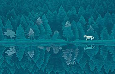 木版画 東山 魁夷 緑響く